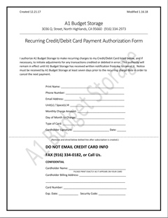 A1 Budget Storage Monthly Recurring Billing Approval / Signup Form